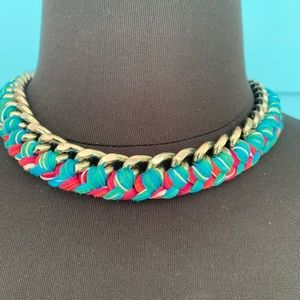 Necklace J37 Chain Laced with Colorful String